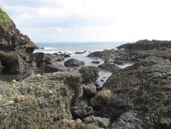 特徴的な岩がある