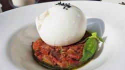 Burrata de Bufala con tartar de tomate seco y fresco sobre crema de albahaca y piñones