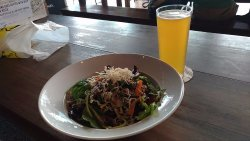 Kangaroo meat Thai salad and Moon Dog