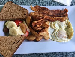 2 eggs, bacon, home fries and toast breakfast