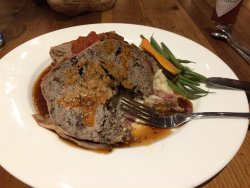Excellent and very tasty meatloaf at the bar in the main lodge.