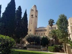 The iconic tower of the Jerusalem International YMCA; the hotel is on the second and third floor