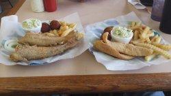 Whole catfish and catfish fillets, fries, slaw & hushpuppies.