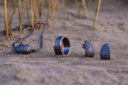 Søpindsvin ring, vedhæng og øreringe