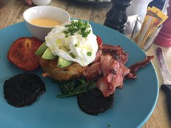 Hash Brown (house made) meal with sides of hollandaise and bacon