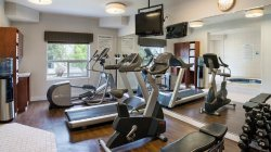 Work out in our modern Fitness Center and relax in the Hot Tub