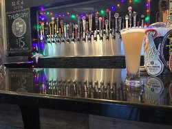 All the taps and me beer--Strawberry Goose Sour