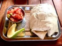 BBQ burg and breakfast burrito