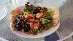 Undescribably delicious salad with fresh calamari, mussels, octopus, scallops & shrimp.