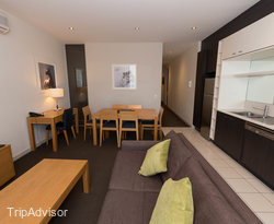 The Two Bedroom One Bathroom Apartment with Balcony at the Amity Apartment Hotels – South Yarra