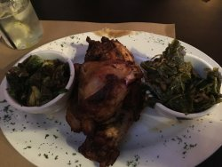 Smoked fried chicken, brussel sprouts, collard greens
