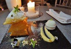 Fried crispy fyllo pastry with lemon cream & spearmint