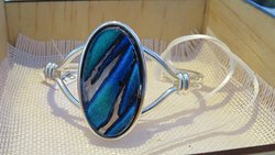 Silver plated bangle ,with our own fused glass insert