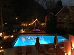 Pool area at night on 11/4/2017. Very pretty.