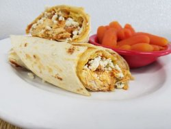 Buffalo chicken wrap with blue cheese crumbles