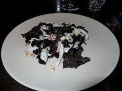 Delicious squid with black trumpet mushrooms