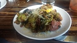 Boiler House Steak and Brussels Sprouts