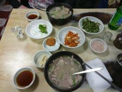 Yummy traditional pork rice soup