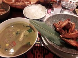 Matchstick chicken, Jasmine Rice and Green Chicken (Thighs) Curry
