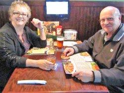 Enjoying lunch at Beef'O'Bradys
