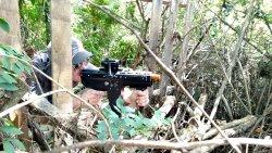 Machine gunnin' in the jungle.