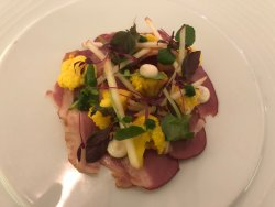 Smoked duck breast with piccalilli - superb!