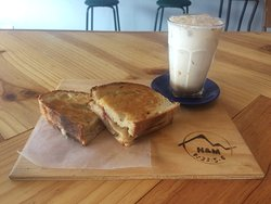 Grilled cheese with salami and an iced chai latte