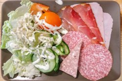 Not a typical dish for a friture, but local salami and pate which tastes so good...