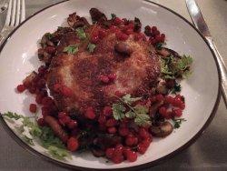 Pheasant patty with fried mushrooms & lingonberries. A bit fatty, tasting slightly deep-fried. B