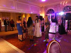 The Chaddesley Restaurant set up for our evening reception. Dance floor provided by Brockencote