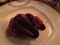 Venison with beetroot & blueberry sauce - beetroot & sauce good, venison tough & chewy