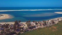 Overview of the lodge setting on the Pomene Estuary