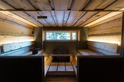 Luxury sauna with a view of the lake at Vila Juhani