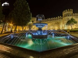 """Night wiew of old city walls named """"Icheri Sheher"""""""