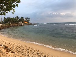 the small beach area opposite the hotel