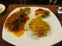 Dinner included well cooked Indian fare