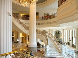 Marvelous grand marble and gold gilded staircase