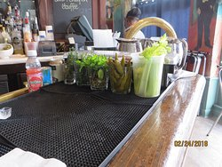 bar area loved the way he set up his garnishes