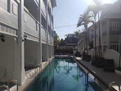 Lap pool. Rooms with direct pool access on the left.