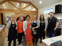 Happy group at Sharmini's Indian cookery course at Yorkshire Wolds Cookery School