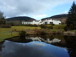 Snow-topped Ben Venue is up the glen at the back of the hotel