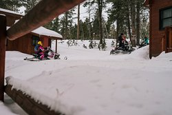 Leave right from your cabin onto the groomed snowmobile trails