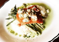 Salmon with warm lobster salad over lemon risotto and asparagus