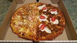 Half and half Moroccan lamb/apricot smoked chicken pizza