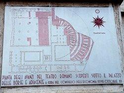 Targa in marmo con schema resti Teatro Romano sottostanti l'edificio rinvenuti durante la costru