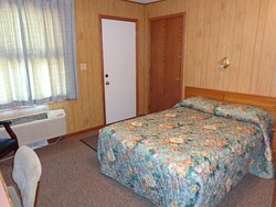 # 6 has one double bed that has recently been remodeled.  Sink is on the outside of the bath bay