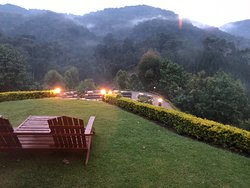 View from dining room, fire pit below