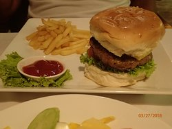 bacon cheese burger and fries