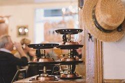 Les réchauds à fondue au Café du Gothard