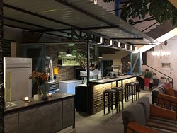 The bar area at Lugareno Cocina. Pictures do not capture the elegance of the courtyard restauran
